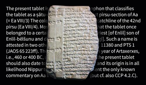 Cuneiform tablet and commentary translation image by Michael S. Helfenbein, YaleNews, April 2015.