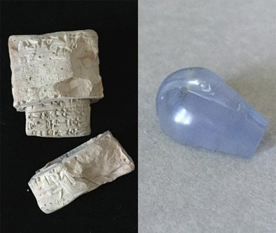 Cuneiform tablet in sealed clay envelope, c. 2050 BCE; and chalcedony weight in the shape of a duck (Yale Babylonian Collection / Ott collection gift). Digital photo composition by Alberto Urcia.