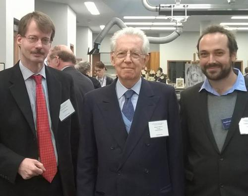 Eckart Frahm and Enrique Jiménez with Mario Monti, President of Bocconi University, Milan, and former Prime Minister of Italy, at West Campus during the U.N. Global Colloquium of University Presidents.