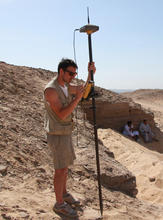 Alberto Urcia doing GNSS survey at one of the noble tombs in Aswan, Egypt during the 2013 AKAP expedition