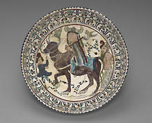 Persian, Iranian, Islamic, probably Kashan Bowl depicting Faridun, Kava, and Zahhak in an episode from Firdawsi's Shahnameh, late 12th–early 13th century, Gift of Wilson P. Foss, Jr., Ph.B. 1913, 1953.24.8.